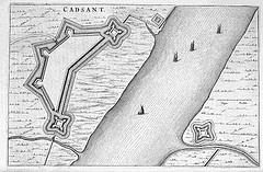 Cadzand in 1649 door Joan Blaeu