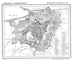 Breda in de gemeenteatlas van Kuyper 1869 (Wikimedia Commons)